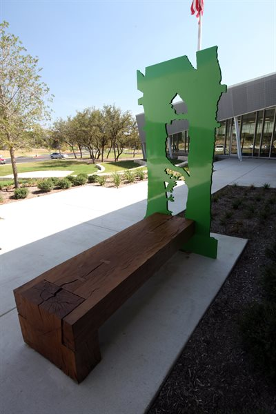 """Stone Oak Shadows"" is a series of benches around the grounds of the Parman Branch Library."