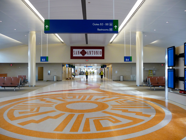 "Part of the ""Gateways: The Four Directions"" is a large terrazzo floor design."