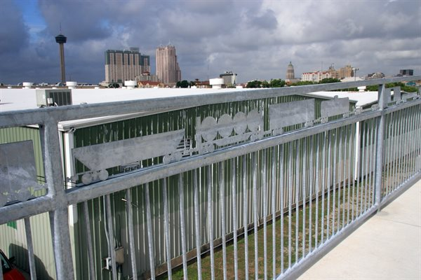 The railings provide a fun and welcoming level of detail on the renovated bridge.