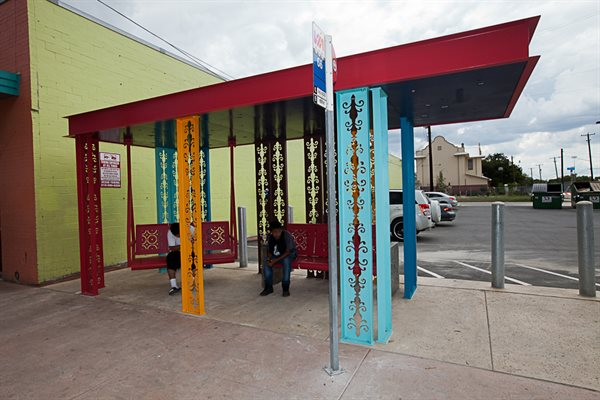 """Urban Porch"" responds to the character and heritage of the San Antonio Westside Neighborhood."