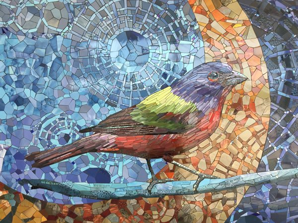 """Songbirds of San Antonio"" is a mosaic tile mural located on the lobby wall of the Northeast Senior Center."