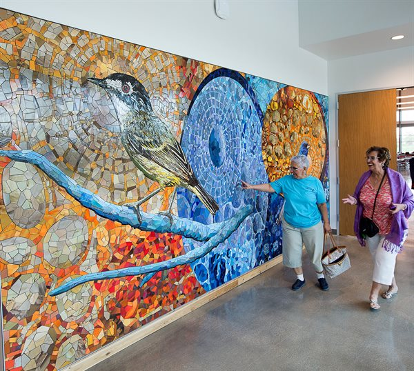 """Songbirds of San Antonio"" depicts realistic songbirds native to the area."