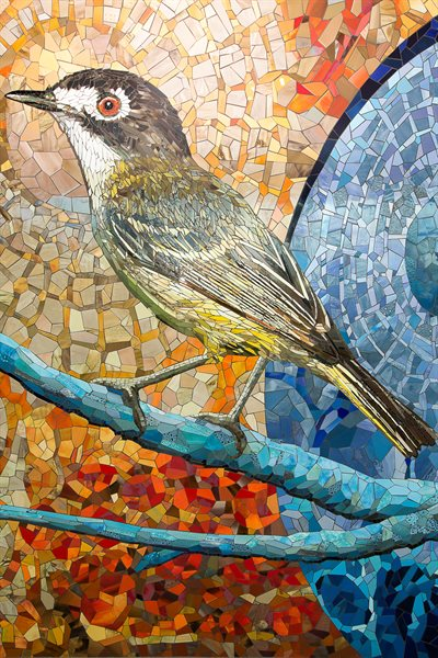 """Songbirds of San Antonio"" is comprised of complementary colors."