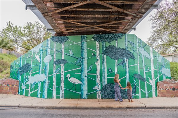 """Canopy"" transforms the underpass into a cool grove of Cypress trees that can be found lining nearby San Pedro springs."
