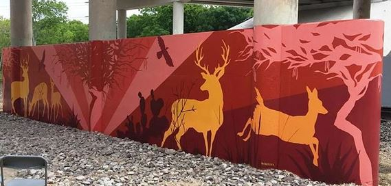"""Fall, Mesquite, Deer"" is a mural drawing inspiration from native mesquite and deer. The mural evokes the season fall."
