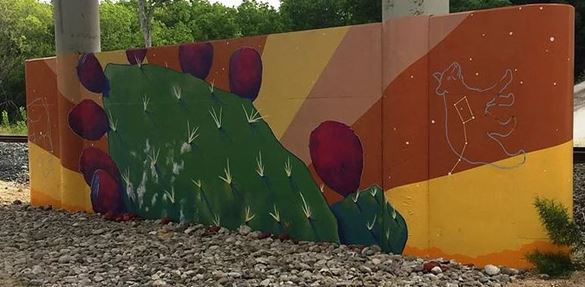 """Summer, Nopal and Tuna, Black Bear"" is a mural drawing inspiration from native nopal cacti and black bears. The mural evokes the summer season."