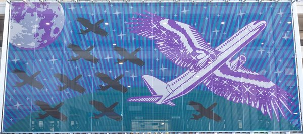 The right panel represents traveling by night, migration, and arriving home. The flock returns home and embodies the moment of arrival.